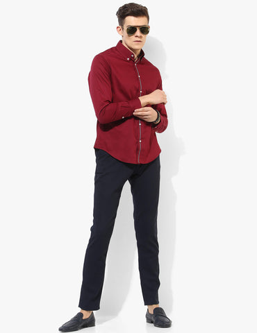 Virile Maroon Oxford Shirt - Tuck N Stitch