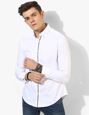 Bold White Oxford Casual Shirt - Tuck N Stitch