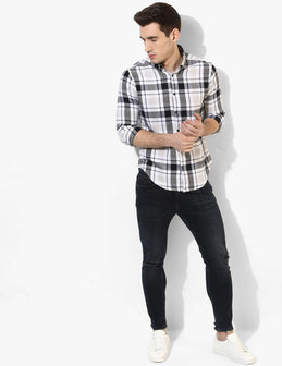 Immaculate Black & White Flannel Shirt - Tuck N Stitch