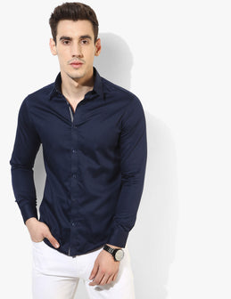 Style-Savvy Navy Blue Shirt - Tuck N Stitch