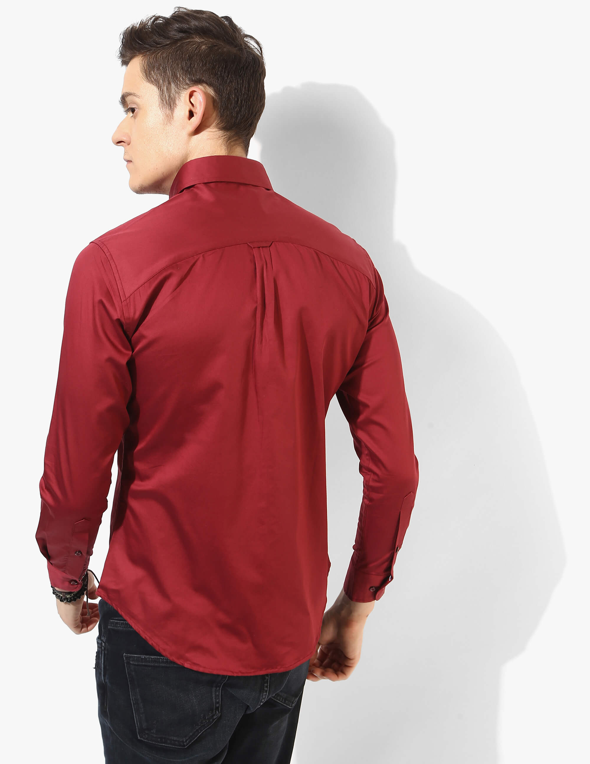 Refined Red Solid Shirt - Tuck N Stitch