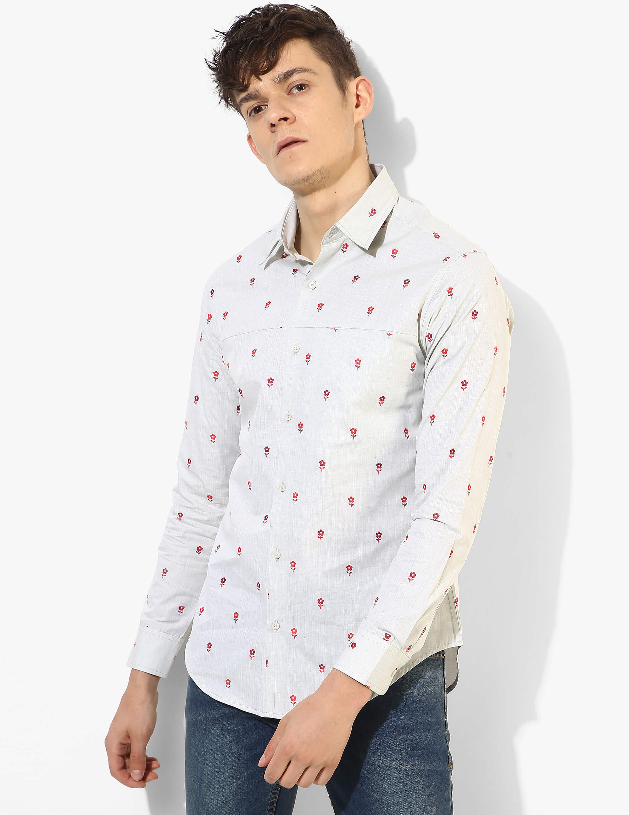 Fila-Fil Floral Embroidered Shirt - Tuck N Stitch