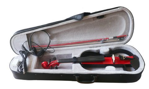 Wholesale Model SREV1001 Professional Level Red Color Piano Lacquer Coated Electric Violin with Accessories