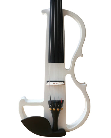Wholesale Model SREV1009 Concert Grade White Color Piano Lacquer Coated Electric Violin with Accessories