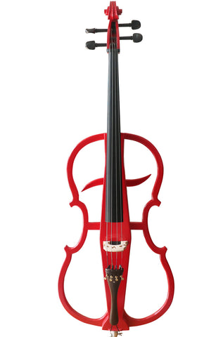 Wholesale Model SREC1002 Professional Level Red Color Piano Lacquer Coated Electric Cello with Accessories