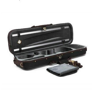 Wholesale High Quality Imitation Ox-tendon Leather Violin Square Case with Hygrometer & Coffe Color Band