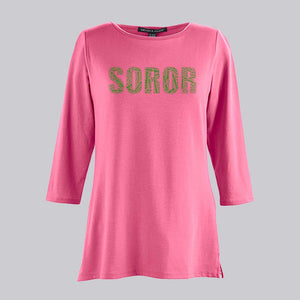 AKA SOROR Collage Bracelet Length Knit Top