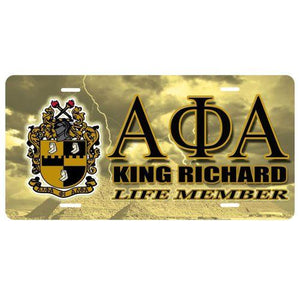 Alpha Phi Alpha Customizable Car Tag