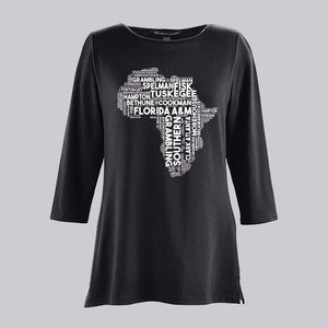 African Shaped Black History Collage Bracelet Length Knit Top