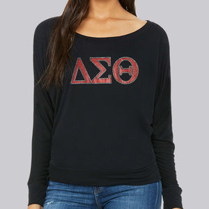 Delta Sigma Theta letters long sleeve off shoulder glitter t-shirt