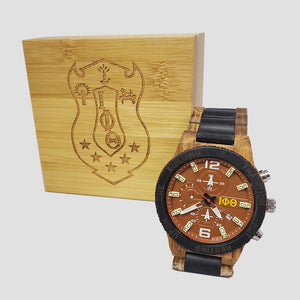 Iota Phi Theta Fraternity Wooden Watch with Engraved Gift Box