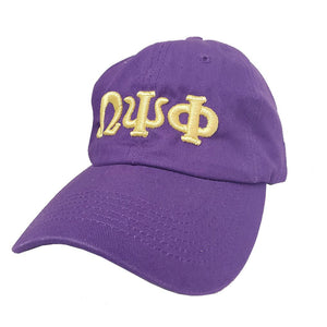 Omega Psi Phi Canvas Relaxed Cap with Embroidered Lettering