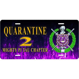Omega Psi Phi Customizable with Purple Flames Car Tag