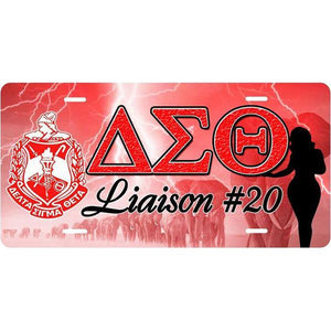 Red Delta Sigma Theta Car Tag with Elephants