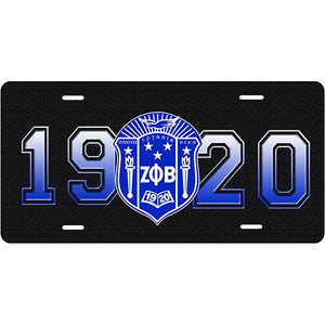 Zeta Phi Beta 1920 Car Tag