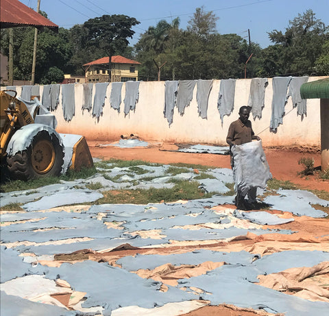 wet blue leather drying uganda tannery