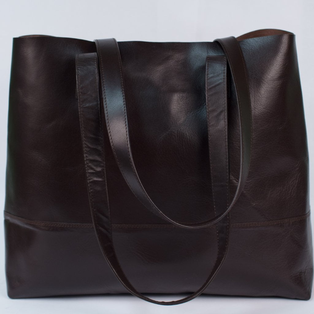 Dark Brown Bare Leather Tote
