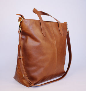 Brown Zipped Tote
