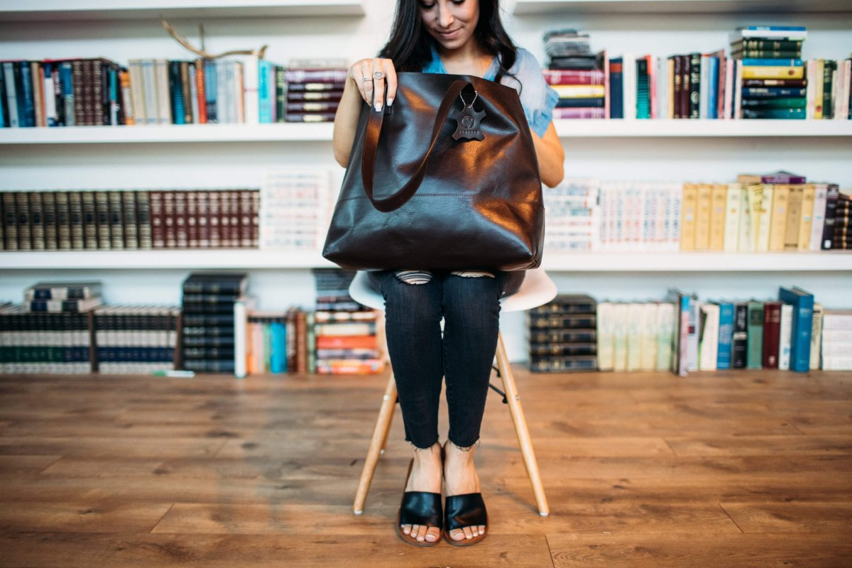Venture Leather Co Tote Dark Brown Bare Leather Tote
