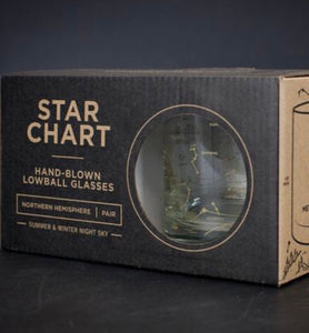 Star Chart Handblown Lowball Glass Set