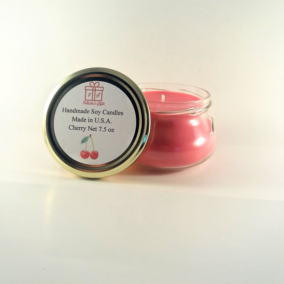 Cherry Scented Soy Wax 7.5 oz Candle