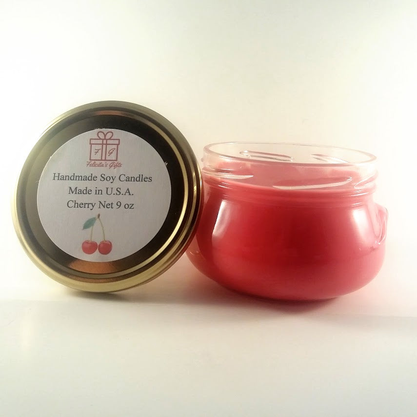 Cherry Scented Soy Wax 9 oz Candle