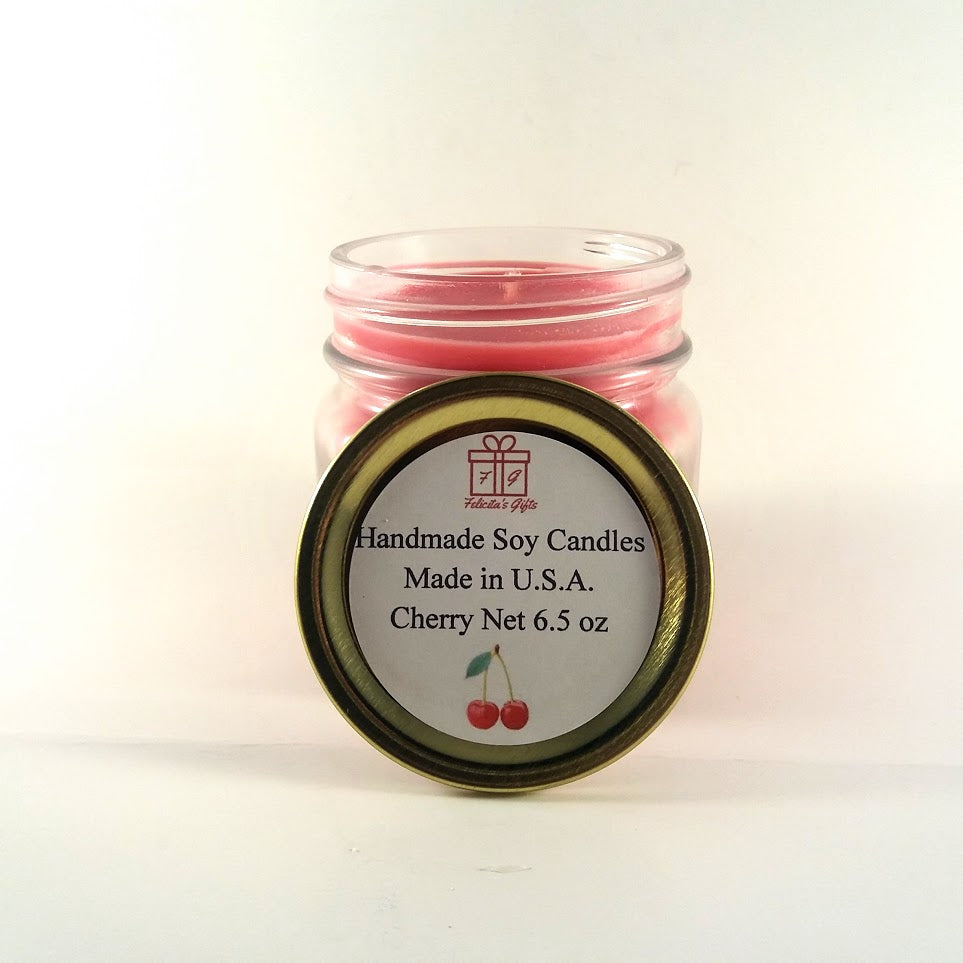 Cherry Scented Soy Wax 6.5 oz Candle