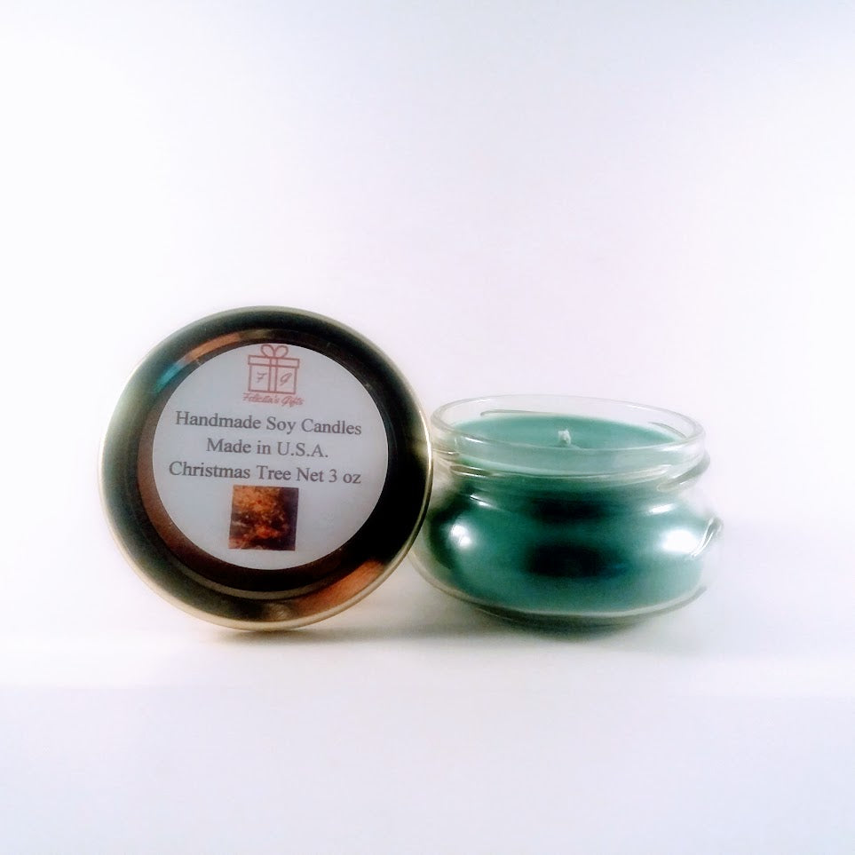Christmas Tree Scented Soy Wax 3 oz Candle Handmade in USA