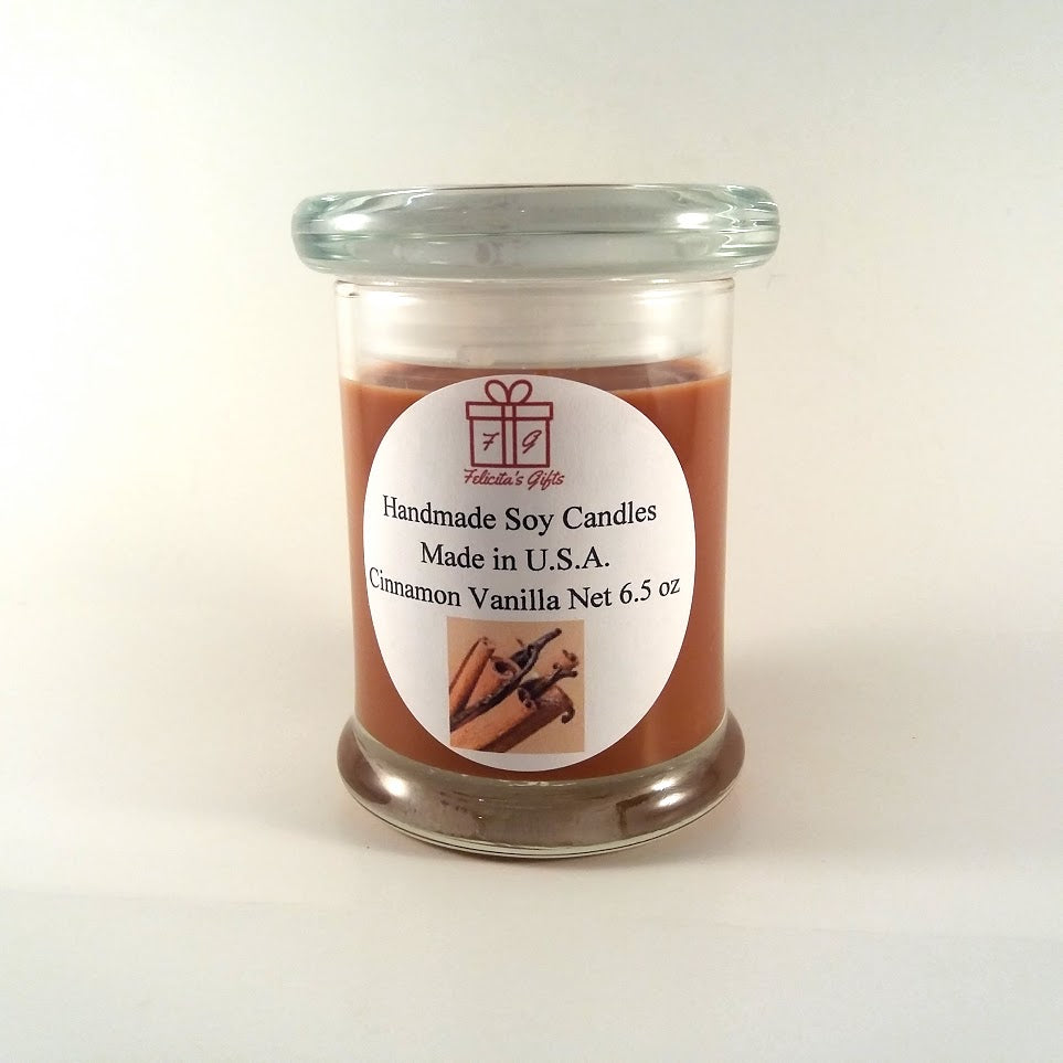 Cinnamon Vanilla Scented Soy Wax 6.5 oz Candle