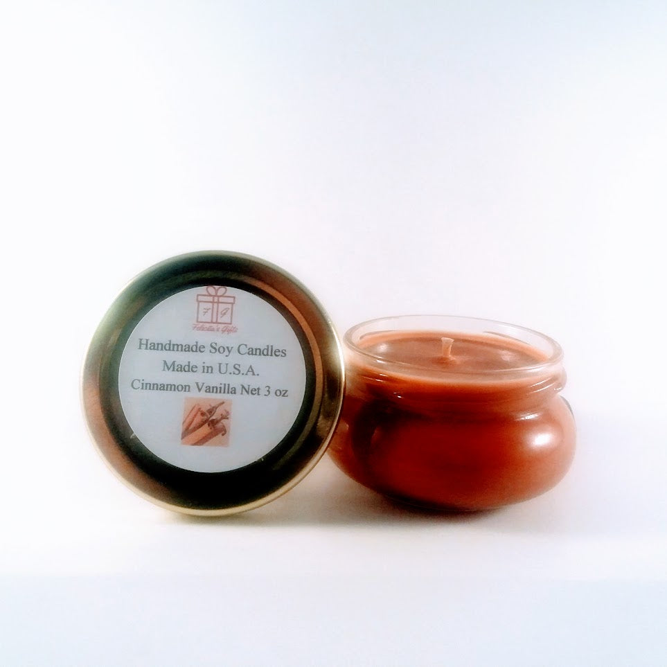 Cinnamon Vanilla Scented Soy Wax 3 oz Candle Handmade in New Jersey U.S.A. using Soy wax