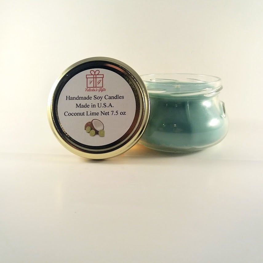 Coconut Lime Scented Soy Wax 7.5 oz Candle