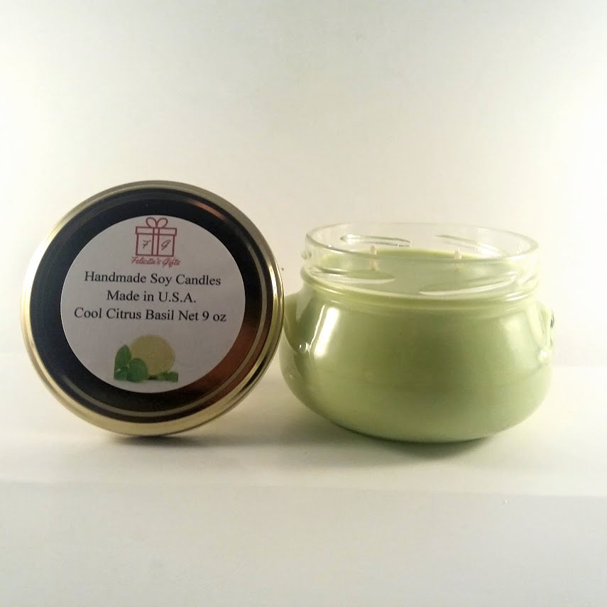 Cool Critus Basil Scented Soy Wax 9 oz Candle