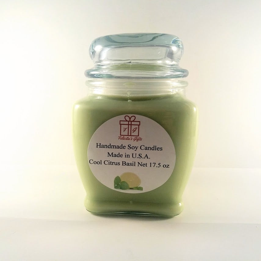 Cool Critus Basil Scented Soy Wax 17.5 oz Candle