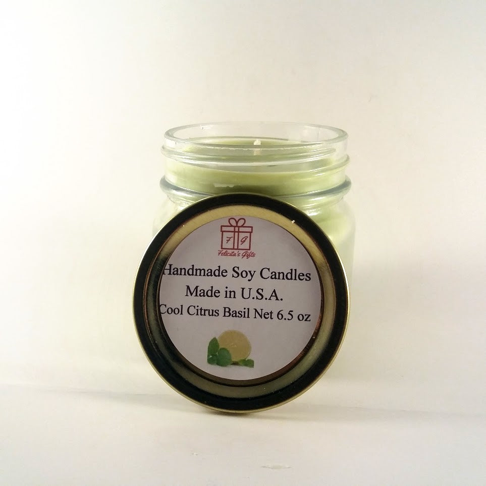 Cool Critus Basil Scented Soy Wax 6.5 oz Candle