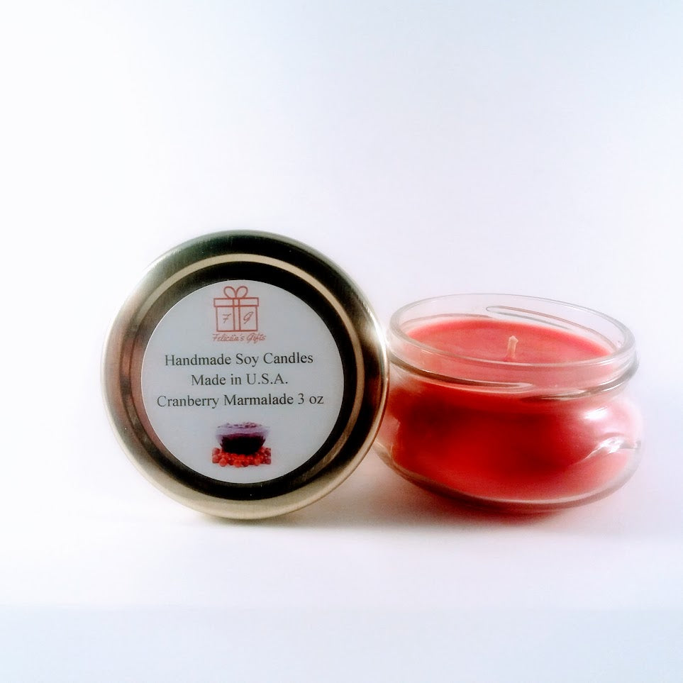Cranberry Marmalade Scented Soy Wax 3 oz Candle Handmade in New Jersey U.S.A. using Soy wax