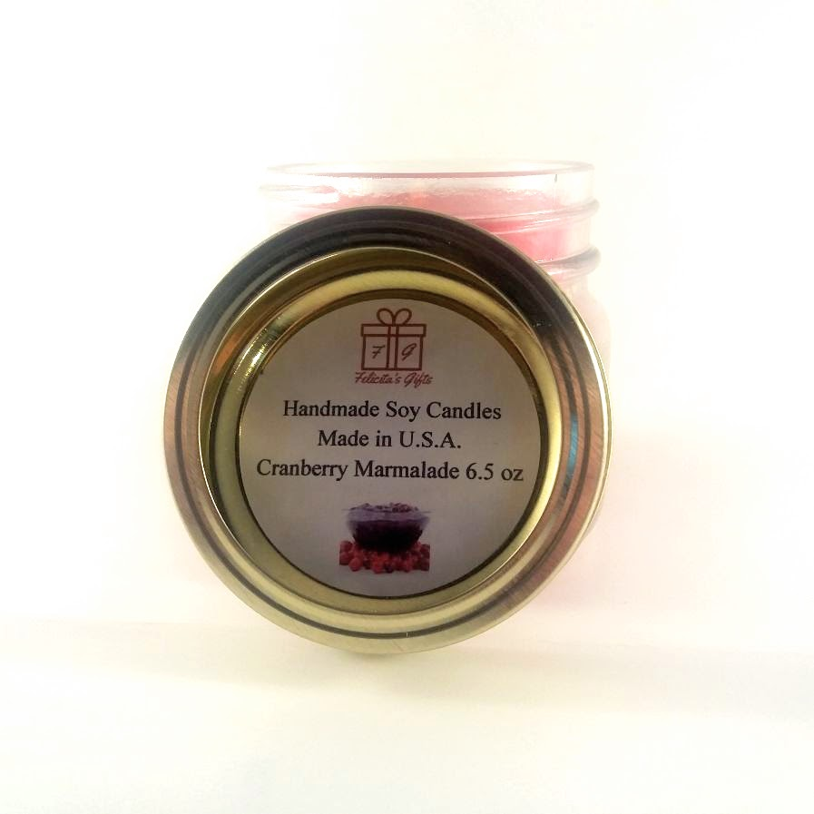 Cranberry Marmalade Scented Soy Wax 6.5 oz Candle