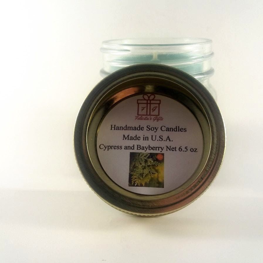 Cypress and Bayberry Scented Soy Wax 6.5 oz  Candle