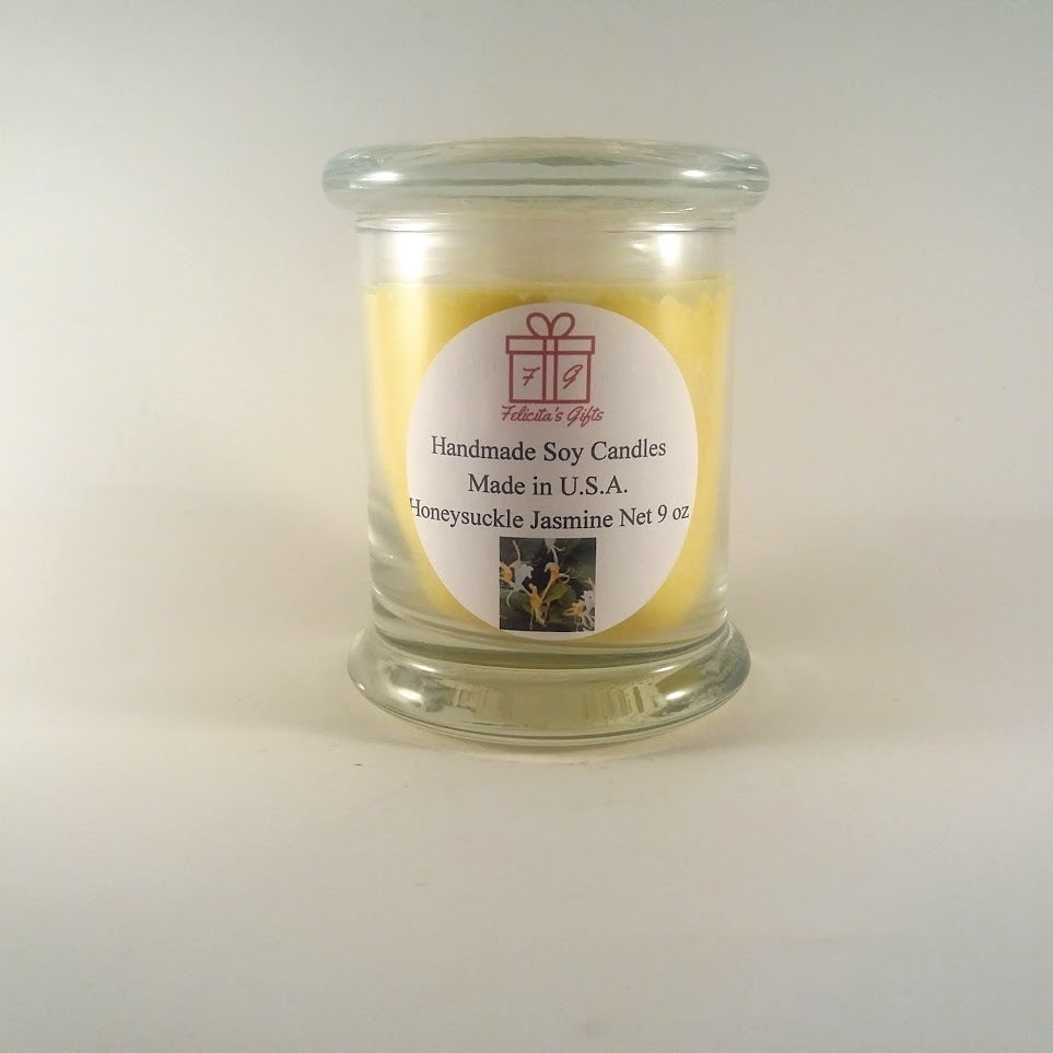Honeysuckle Jasmine Scented Soy Wax 9 oz Candle