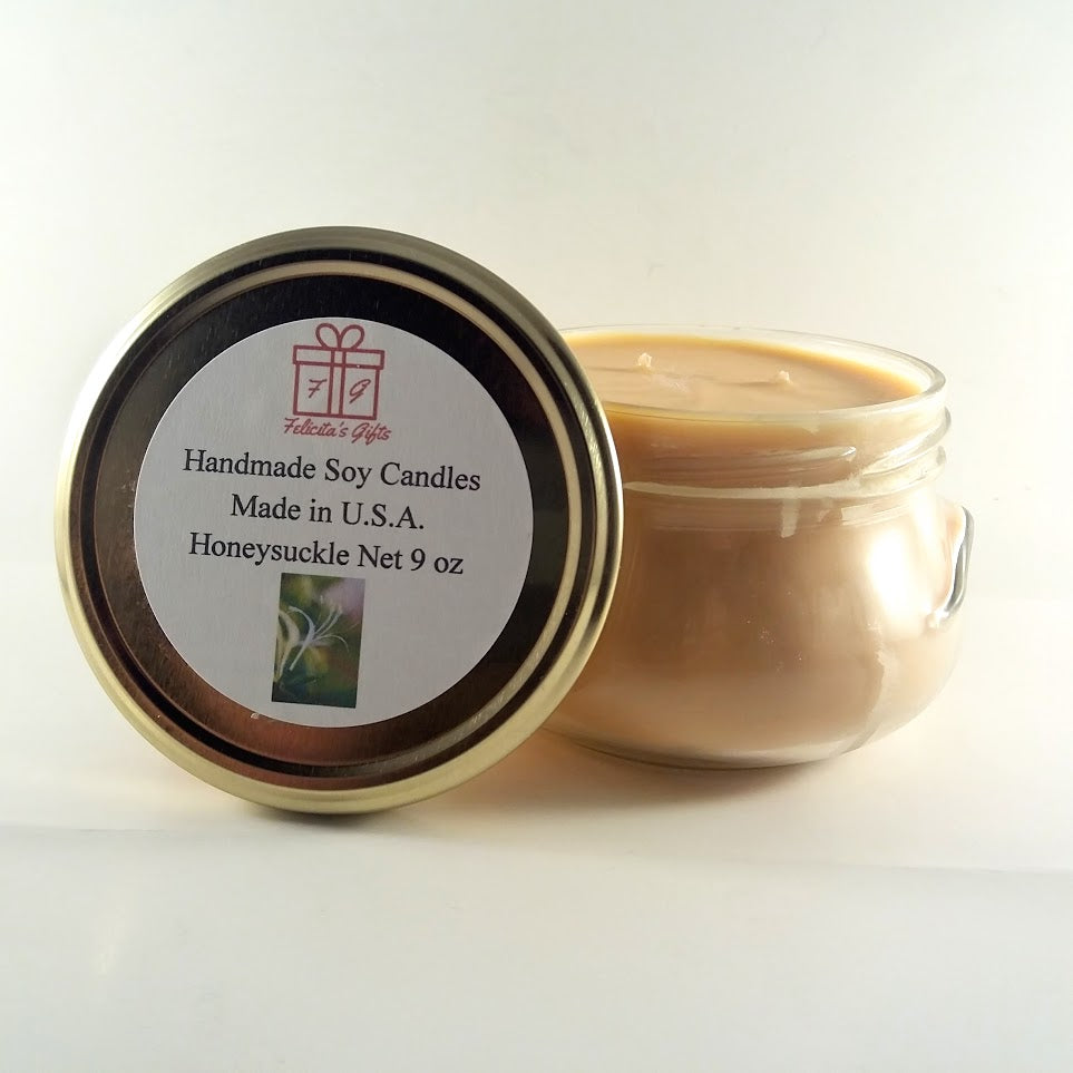 Honeysuckle Scented Soy Wax 9 oz Candle
