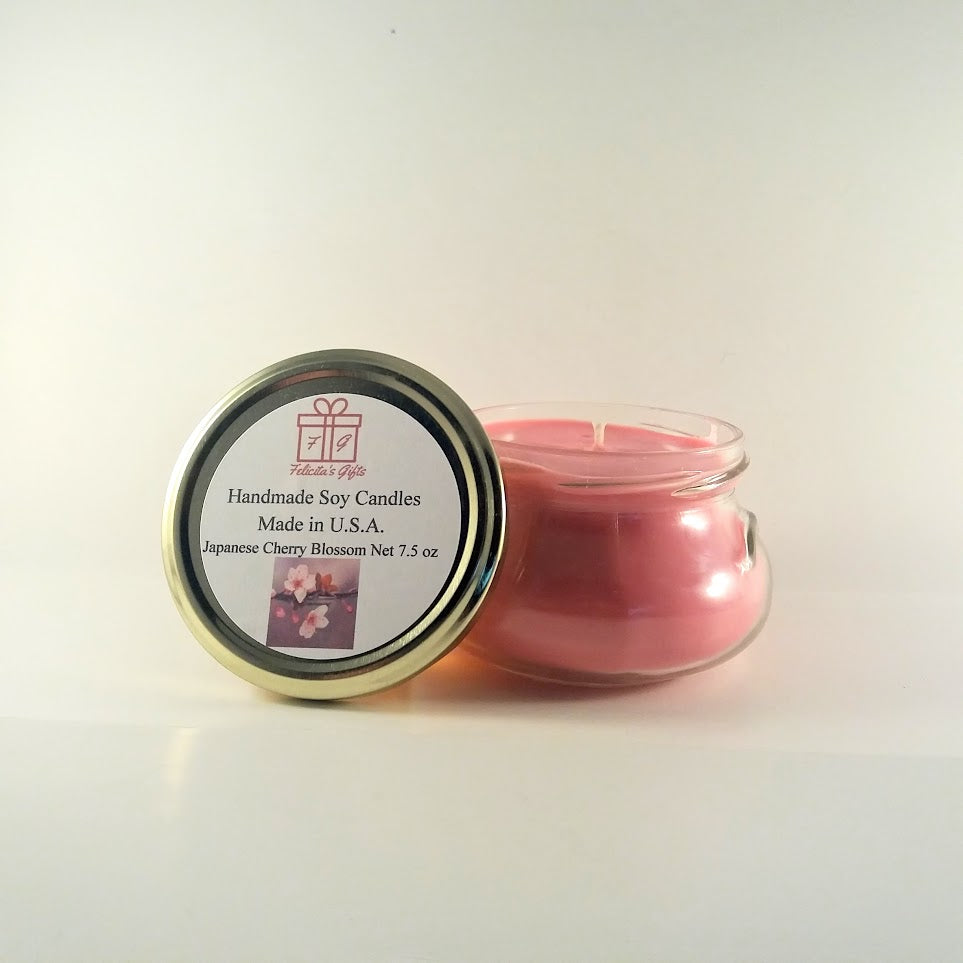 Japanese Cherry Blossom Scented Soy Wax 7.5 oz Candle