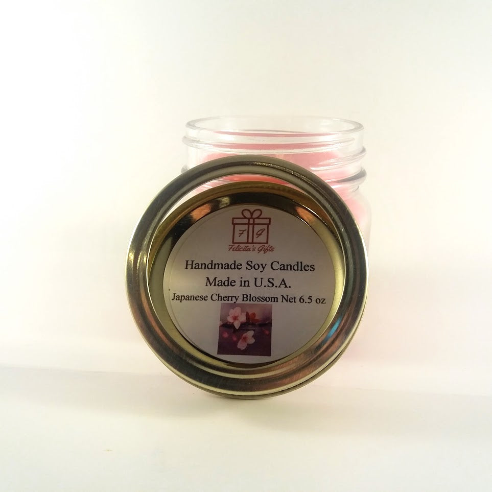 Japanese Cherry Blossom Scented Soy Wax 6.5 oz Candle