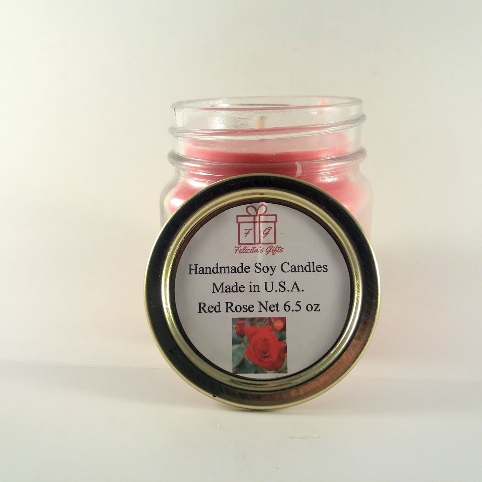 Red Rose Scented Soy Wax 6.5 oz Candle