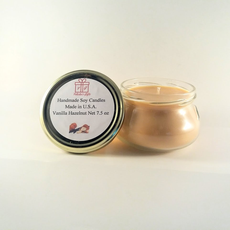 Vanilla Hazelnut Scented Soy Wax 7.5 oz Candle
