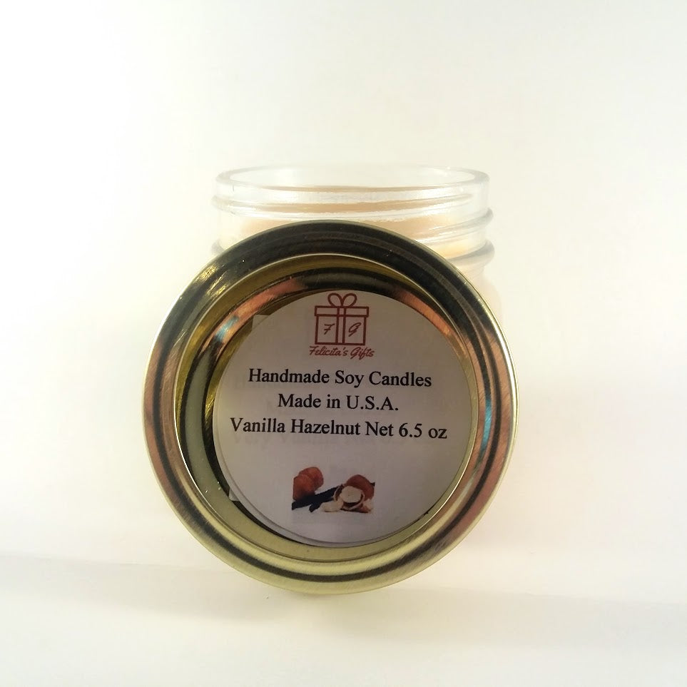 Vanilla Hazelnut Scented Soy Wax 6.5 oz Candle