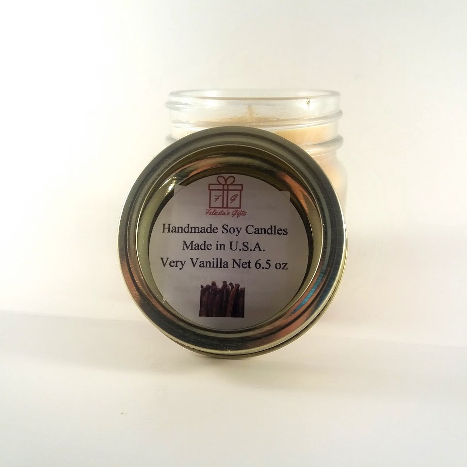 Very Vanilla Scented Soy Wax 6.5 oz Candle