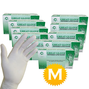 Latex Powder Free Gloves - Size Medium - 1000 Gloves