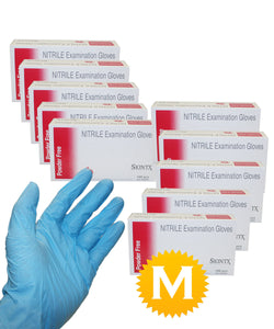 Nitrile Medical Exam Powder Free Gloves - Size Medium - 1000 Gloves