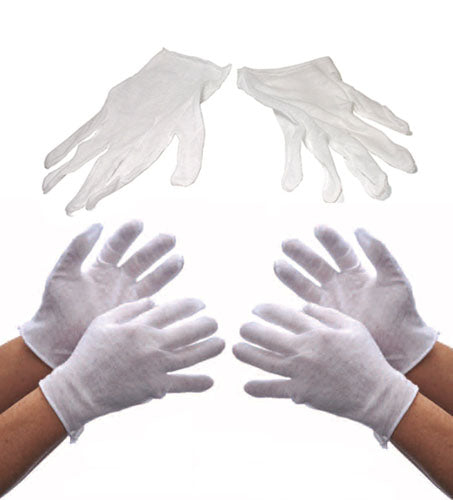 12 Pairs Light Weight White Inspection Cotton Lisle Gloves