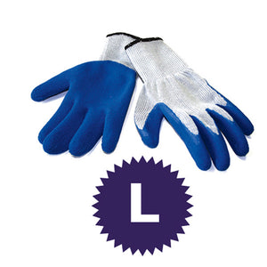 12 Pairs String Knit Blue Latex Coated Palm Gloves – Size Large