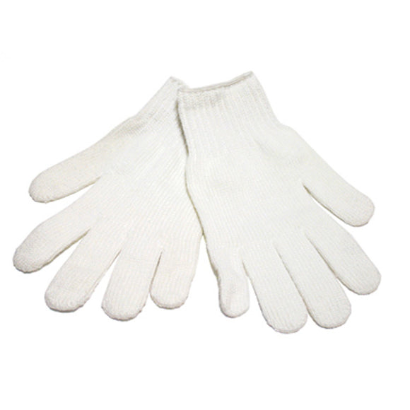 12 Pairs Bleached White Cotton String Knit Gloves (600G) - Size Large
